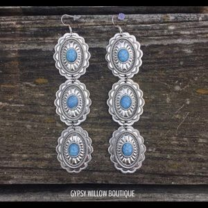 Concho earrings with turquoise design